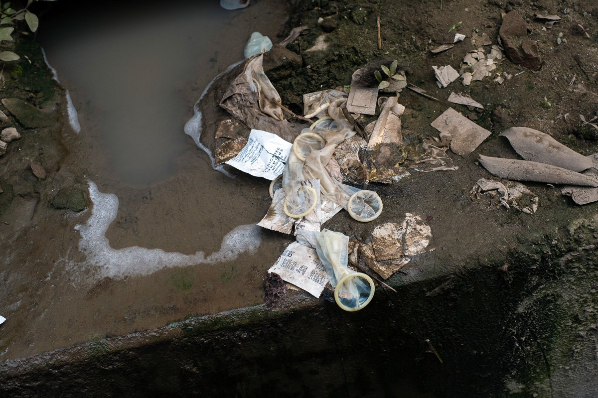 Used condoms outside the Kandapara brothel in Tangail.