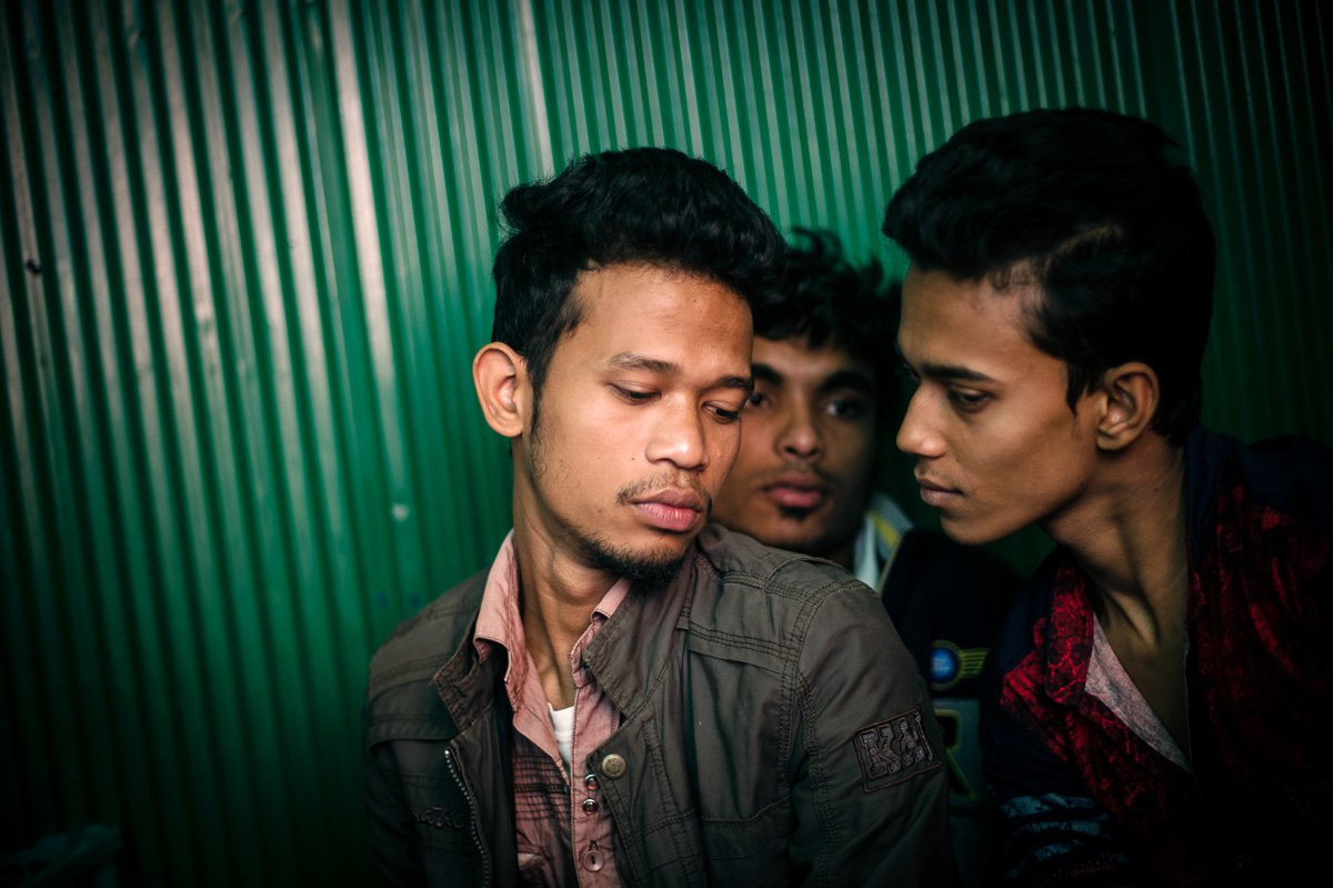 Enamul, 21, Apurbo, 20, and Ullash, 20, are students and regularly customers in the brothel.