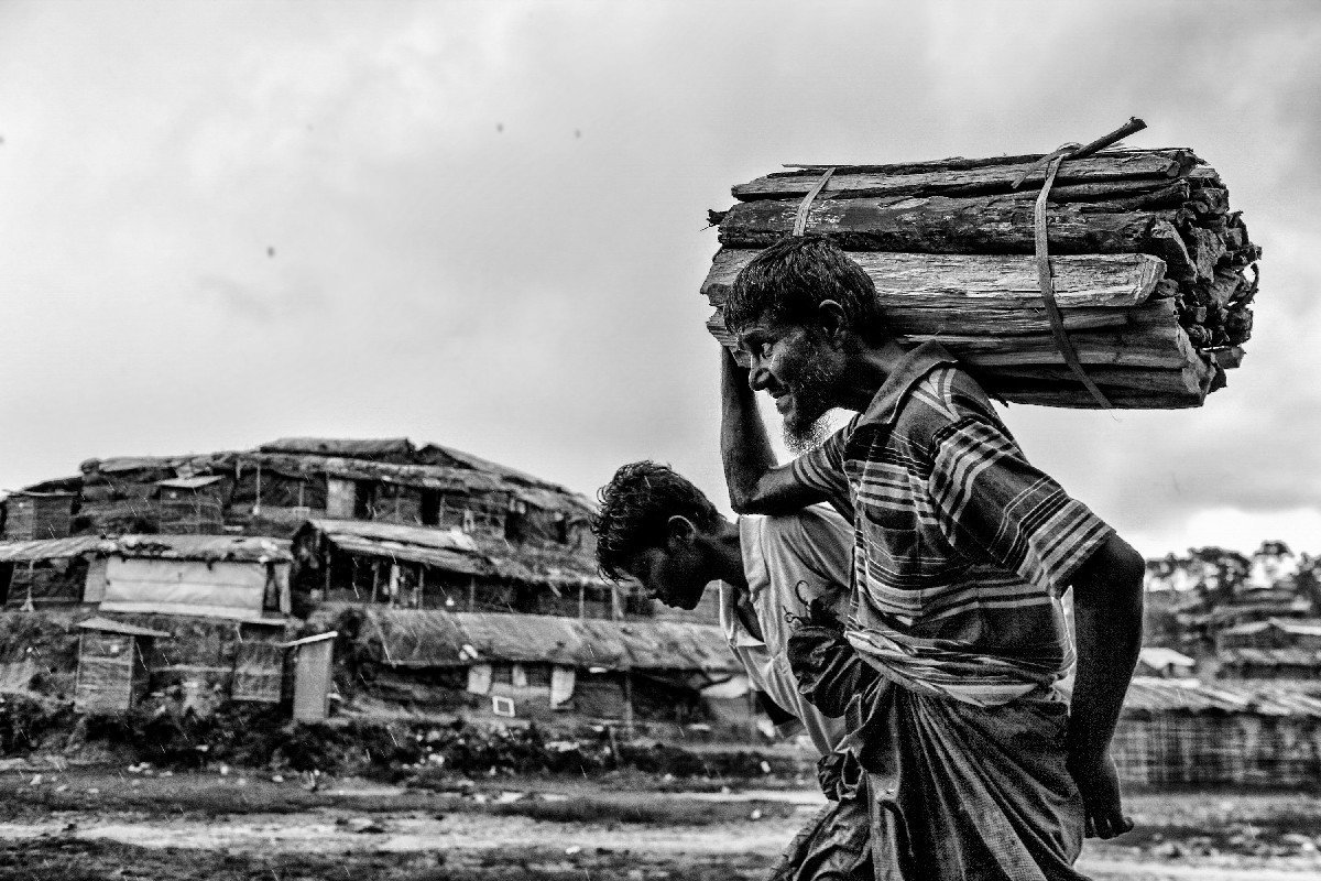 Rohingya refugee is bringing firewood to start a fireplace at the camp.