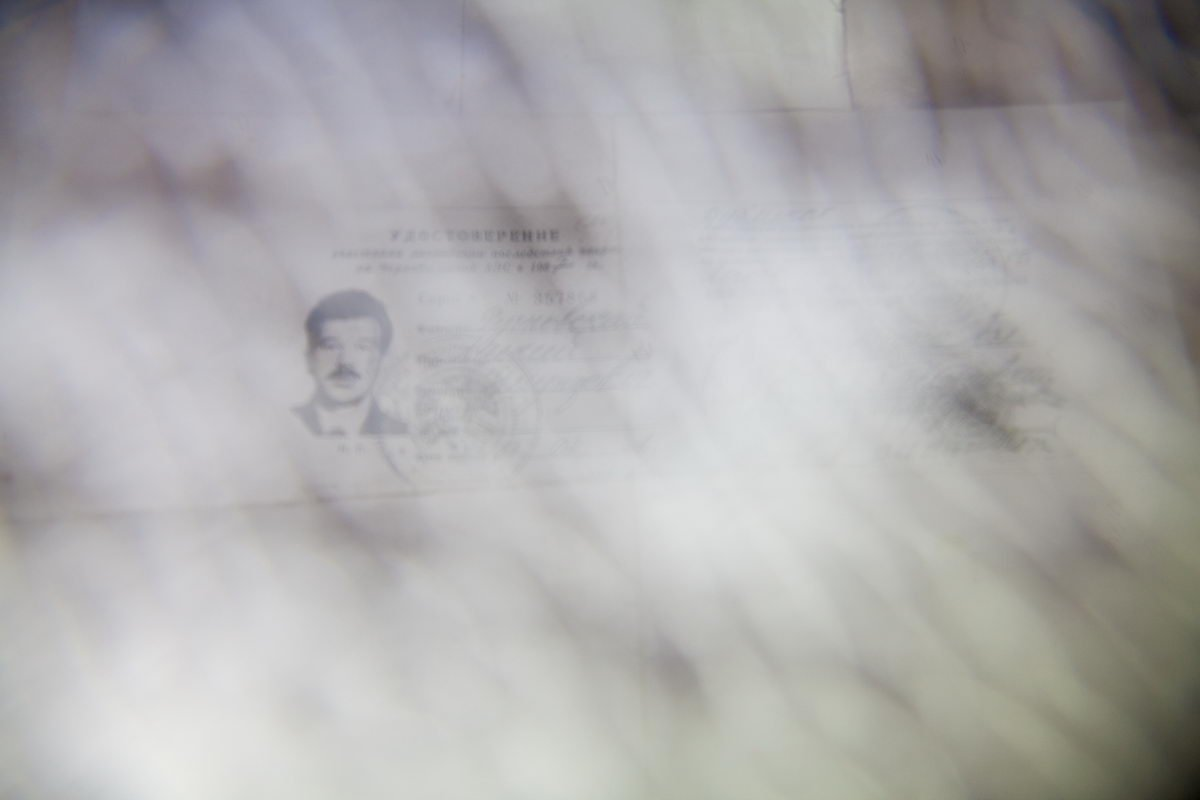 Photocopy of the ID of the liquidator Alexey Rutkovsky, who died from the consequences of the Chernobyl disaster.