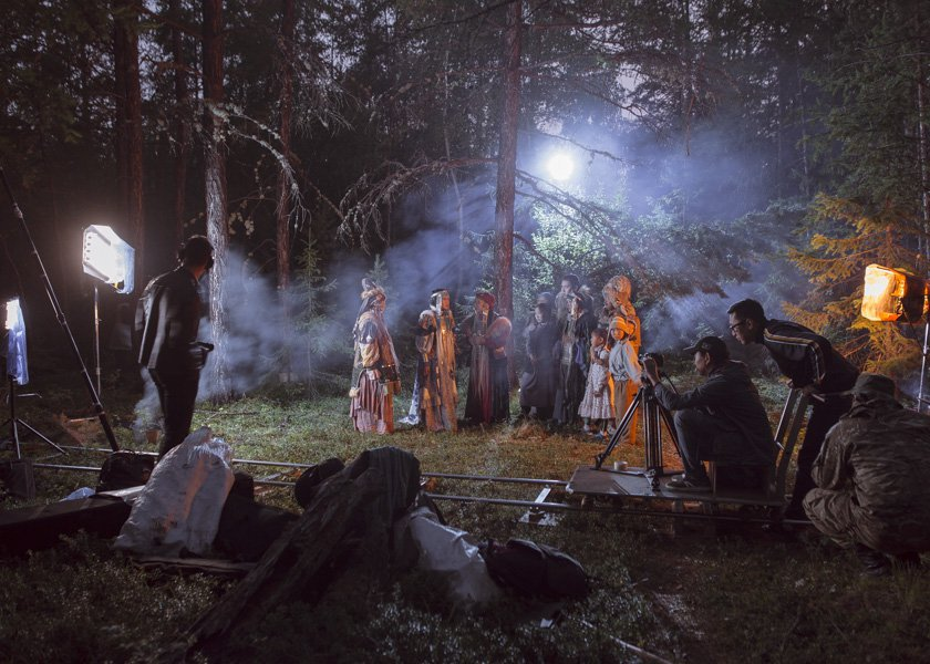 "During the filming of a movie based on the Yakut folk tale ""The Old Beyberikeen With Five Cows."""