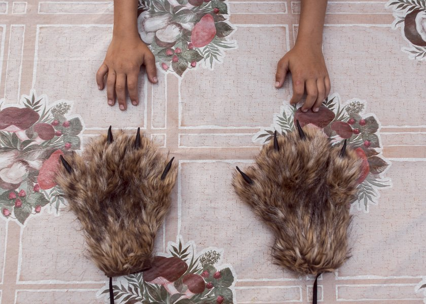 "These paws are the part of the costume of mythical creature from swamps called ""dulgancha""."