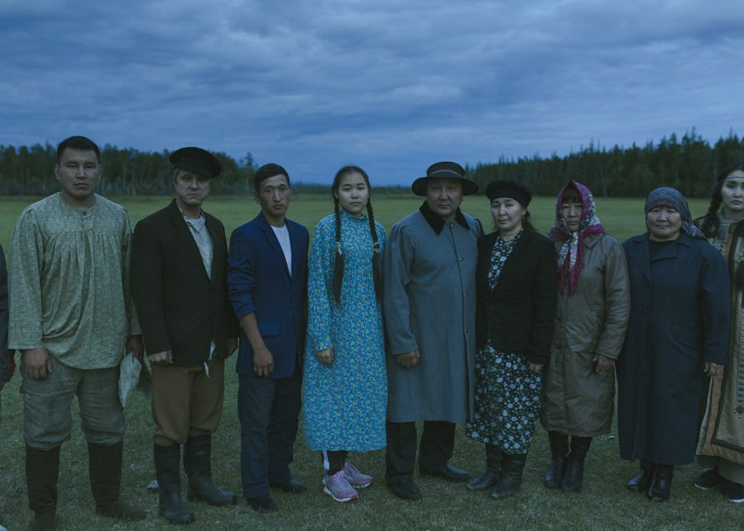 "Group photo of residents of the Magarasy village, who were extra's in the mystical drama ""The Cursed Land."""