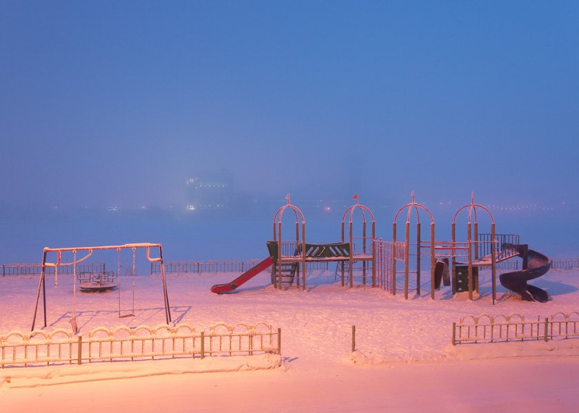 The playground in Yakutsk. Winters in Yakutia are snowy and usually last for 5-6 months.