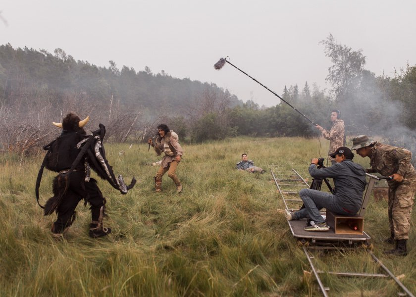 "During the filming of the scene where the protagonists fight the evil spirit ""abaahy"" in the film adaptation of fairy tale ""Starushka Beyberikeen."""